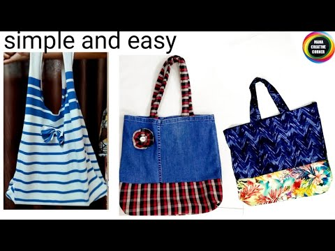 3 Bag Making Ideas from old Clothes/3 Easy Shopping Bag sewing ideas at home using old clothes/best
