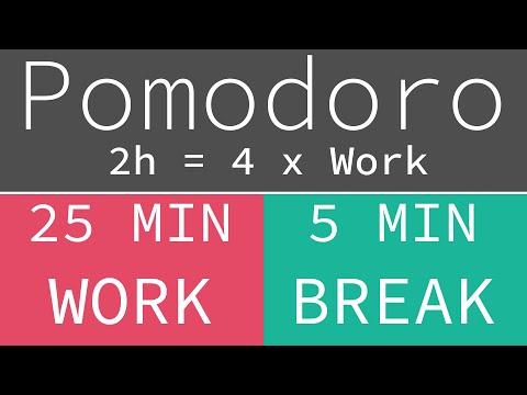 Pomodoro Technique 4 x 25 min - Study Timer 2h