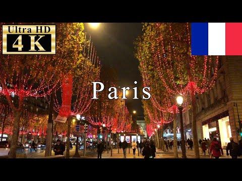 🇫🇷🎄Paris Christmas Walk 4K 60fps - Champs Elysees in Christmas Season -