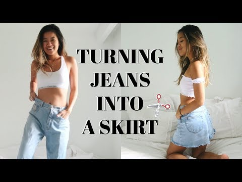 DIY: TRANSFORMING OLD JEANS INTO A SKIRT | rachspeed