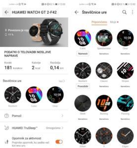 Spreminjanje privzete številčnice na Huawei Watch GT 2
