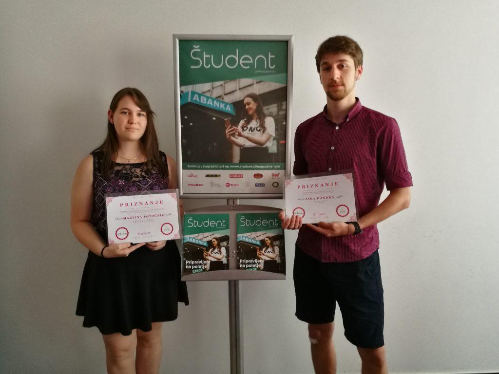 Martina Potočnik in Jaka Handra, zmagovalca literarnega natečja Student.si fantazija / znanstvena fantastika