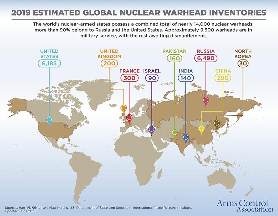 Zemljevid držav z jedrskim orožjem.