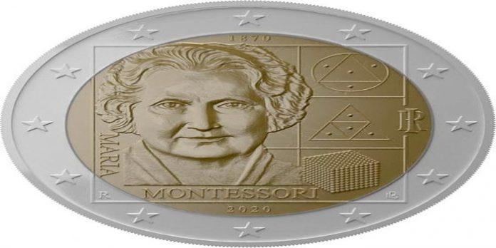 Kovanec z obrazom Marie Montessori.