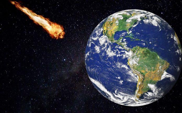 Meteorit, ki drvi proti zemlji