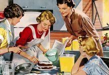 retro fotografija, študentje kuhajo