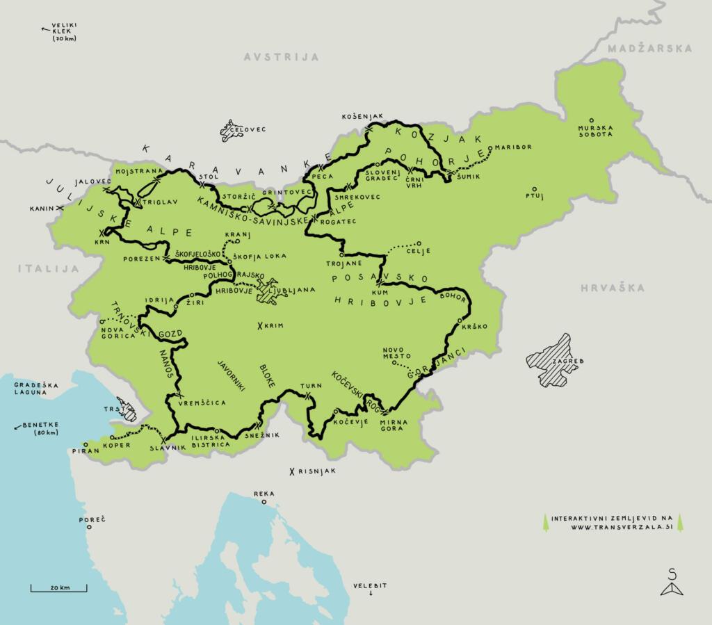 Zemljevid Transverzale