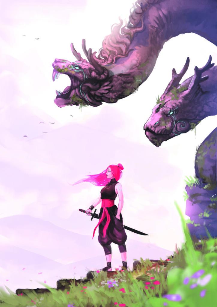 Anime risba bojevnice z dvema zmajevima glavama za njo